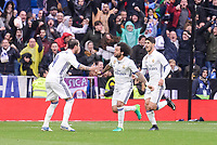 Real Madrid's  Sergio Ramos, Marcelo and Marco Asensio  celebrating a goal during La Liga match between Real Madrid and Valencia CF at Santiago Bernabeu Stadium in Madrid, April 29, 2017. Spain.<br /> (ALTERPHOTOS/BorjaB.Hojas)