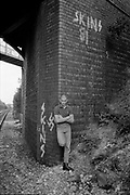 Gavin by Graffiti Wall, Cock Lane Bridge, High Wycombe, UK, 1980s.