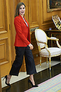 041316 Queen Letizia attends audience at Zarzuela Palace