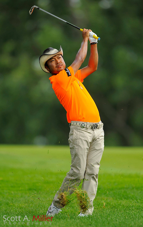Aug 13, 2009; Chaska, MN, USA; Shingo Katayama (JAP) hits out of the rough on the third hole during the first round of the 2009 PGA Championship at Hazeltine National Golf Club.  ©2009 Scott A. Miller