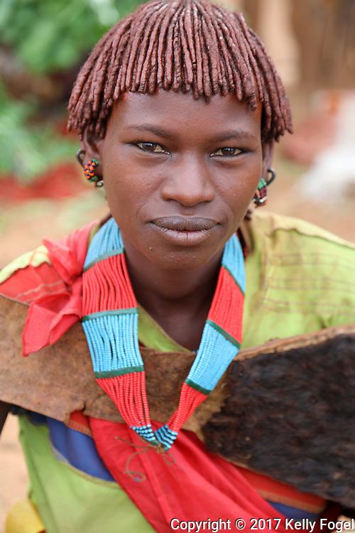 Hamer woman at the Dimeka market.<br /> Omo Valley, Ethiopia 2017