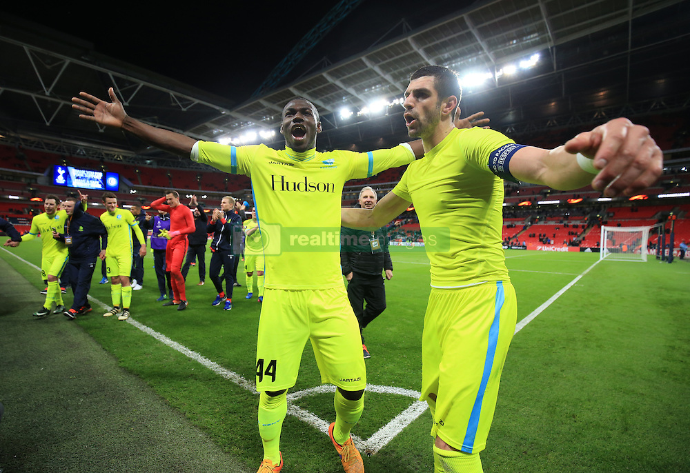 23 February 2017 - UEFA Europa League - (Round of 32) - Tottenham Hotspur v KAA Gent - Anderson Esiti and Stefan Mitrovic of K.A.A. Gent celebrate - Photo: Marc Atkins / Offside.