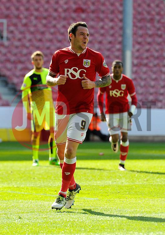 Lee Tomlin of Bristol City celebrates his goal  - Mandatory by-line: Joe Meredith/JMP - 30/04/2016 - FOOTBALL - Ashton Gate Stadium - Bristol, England - Bristol City v Huddersfield Town - Sky Bet Championship