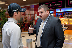 Athlete Jakov Fak and Tomaz Lovse, president  of SZS at press conference of Slovenia Biathlon team before new season 2010 - 2011, on November 24, 2010, in Emporium, BTC, Ljubljana, Slovenia.  (Photo by Vid Ponikvar / Sportida)