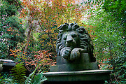 To the memory of George Wombell (menagarist) - stature of lion, in Highgate Cemetery, London