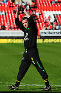 London - Saturday, April 17th 2010: Paul Lambert of Norwich City celebrates promotion after the Coca Cola League One match at The Valley, Charlton...(Pic by Alex Broadway/Focus Images)