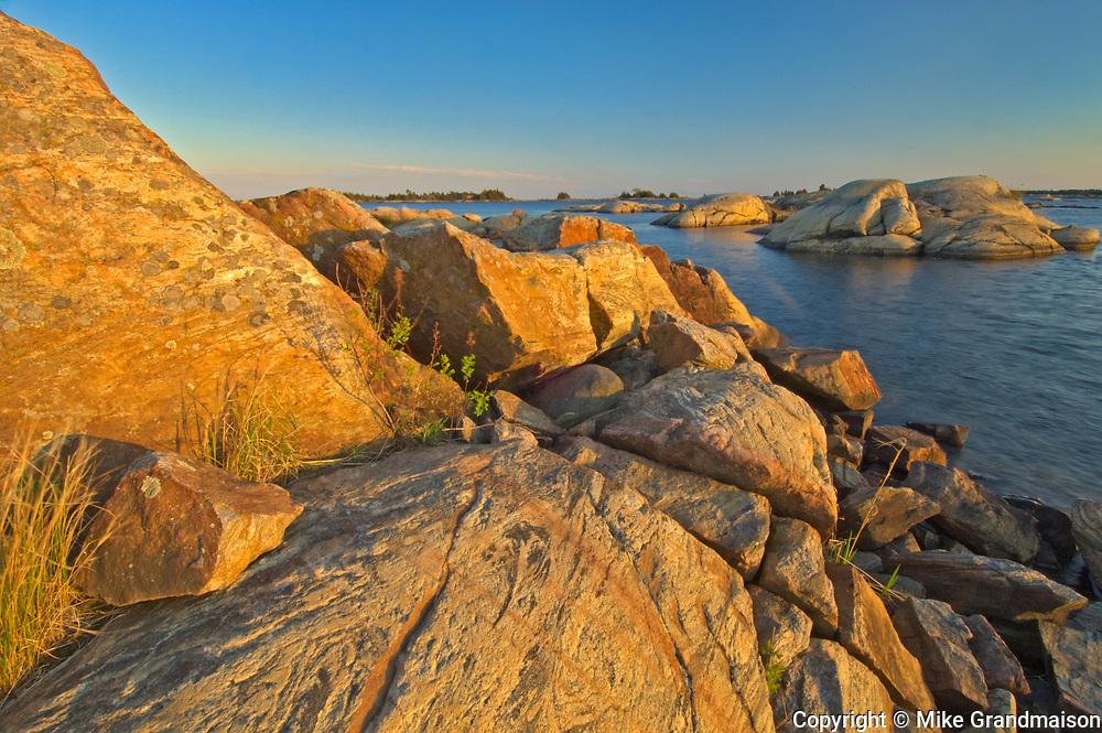 Precambrian Shield rock along Georgian Bay (Lake Huron)<br />French River Provincial Park<br />Ontario<br />Canada