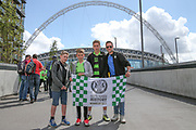 Forest Green Rovers fans in front of the stadium during the Vanarama National League Play Off Final match between Tranmere Rovers and Forest Green Rovers at Wembley Stadium, London, England on 14 May 2017. Photo by Shane Healey.