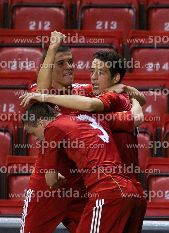 14.09.2011, Anfield, Liverpool, ENG, NextGen Series, Liverpool FC vs VfL Wolfsburg, im Bild Liverpool's Krisztian Adorjan celebrates after crossing to create the equalising goal as a VfL Wolfsburg player scores an own-goal during the NextGen Series Group 2 match at Anfield. . EXPA Pictures © 2011, PhotoCredit: EXPA/ Propaganda Photo/ David Rawcliff +++++ ATTENTION - OUT OF ENGLAND/GBR+++++
