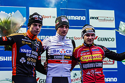 Podium: 1st Mathieu van der Poel (NED), 2nd Wout van Aert (BEL) & 3rd Gianni Vermeersch (BEL), Men Elite, Cyclo-cross World Cup Hoogerheide, The Netherlands, 25 January 2015, Photo by Thomas van Bracht / PelotonPhotos.com