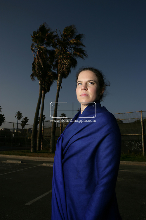 28th April 2009.Venice Beach, California. Yoga instructor Alexandra Aitken, daughter of  British government minister Jonathan Aitken, who was convicted of perjury in 1999.© JOHN CHAPPLE / REBEL IMAGES.john@chapple.biz    (001) 310 570 9100