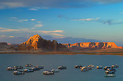 Houseboats at Wahweap Marina on Lake Powell; Glen Canyon National Recreation Area, Arizona..