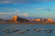 Houseboats at Wahweap Marina on Lake Powell; Glen Canyon National Recreation Area, Arizona..