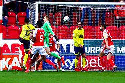 Amari'i Bell of Blackburn Rovers' shot goes past Marek Rodak of Rotherham United to bring Blackburn Rovers level - Mandatory by-line: Ryan Crockett/JMP - 02/03/2019 - FOOTBALL - Aesseal New York Stadium - Rotherham, England - Rotherham United v Blackburn - Sky Bet Championship