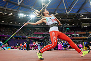 Great Britain, London - 2017 August 06: Marcelina Witek (KS Polanik Piotrkow Trybunalski) from Poland competes in women&rsquo;s javelin qualification during IAAF World Championships London 2017 Day 3 at London Stadium on August 06, 2017 in London, Great Britain.<br /> <br /> Mandatory credit:<br /> Photo by &copy; Adam Nurkiewicz<br /> <br /> Adam Nurkiewicz declares that he has no rights to the image of people at the photographs of his authorship.<br /> <br /> Picture also available in RAW (NEF) or TIFF format on special request.<br /> <br /> Any editorial, commercial or promotional use requires written permission from the author of image.