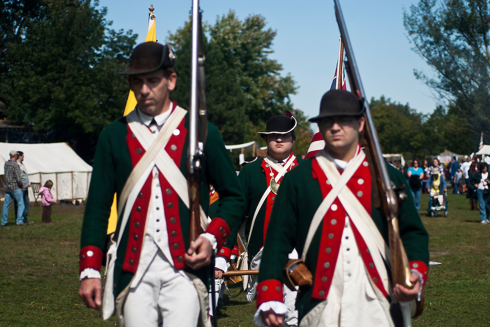 Lathan Goumas | The Bay City Times..Revolutionary War era soldiers during the River of Time at Veterans Park in Bay City, MI., on Saturday September 24, 2011.