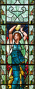 Stained glass window detail depicting Hope designed by Henry Holiday 1890s, Fressingfield church, Suffolk, England, UK