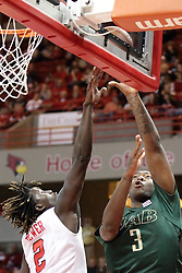 05 December 2015: Chris Cokley gets a shot over Quintin Brewer (2). Illinois State Redbirds host the University of Alabama - Birmingham Blazers at Redbird Arena in Normal Illinois (Photo by Alan Look)