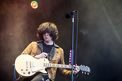 © Licensed to London News Pictures . 05/06/2015 . Manchester , UK . PEACE on stage . Evening concerts featuring headliners , The Courteeners , playing a homecoming gig , at Heaton Park in Manchester in front of 25,000 people , the evening before the Parklife music festival . Photo credit : Joel Goodman/LNP
