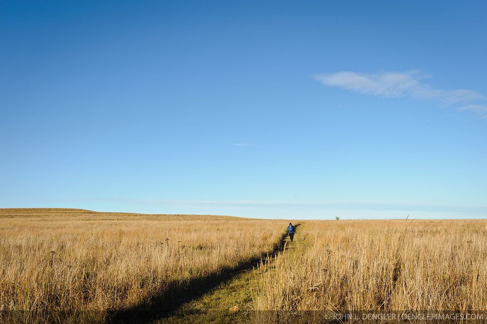 A hiker hikes one of the several trails cut through the tallgrass prairie and rolling hills of the Tallgrass Prairie National Preserve. The 10,894-acre Tallgrass Prairie National Preserve is located in the Flint Hills of Kansas in Chase County near the towns of Strong City and Cottonwood Falls. Less than four percent of the original 140 million acres of tallgrass prairie remains in North America. Most of the remaining tallgrass prairie is in the Flint Hills in Kansas. Tallgrass Prairie National Preserve is the only unit of the National Park Service dedicated to the preservation of the tallgrass prairie ecosystem. The Tallgrass Prairie National Preserve is co-managed with The Nature Conservancy.