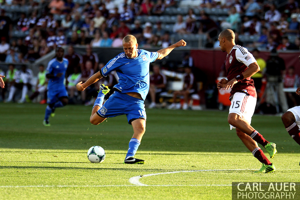June 15th, 2013 - San Jose Earthquake forward Steven Lenhart (16) rockets a shot on goal for the first goal the first half of the MLS match between San Jose Earthquake and the Colorado Rapids at Dick's Sporting Goods Park in Commerce City, CO