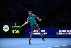 November 17, 2017 - London, England, United Kingdom - Belgium's David Goffin returns to Austria's Dominic Thiem during a men's singles round-robin match on day six of the ATP World Tour Finals tennis tournament at the O2 Arena in London on November 17, 2017. (Credit Image: © Alberto Pezzali/NurPhoto via ZUMA Press)