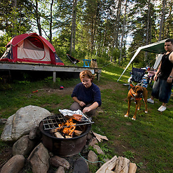 A camp scene at Lake Francis State Park in Pittsburg, New Hampshire.