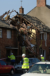 House destroyed by a gas explosion in which an elderly woman died; North Shields; Tyneside UK