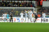 Norwich city's Robert Snodgrass (7) scores his sides 4th goal from a free-kick. Barclays Premier league, Swansea city v Norwich city at the Liberty Stadium in Swansea, South Wales on Saturday 8th Dec 2012. pic by Andrew Orchard, Andrew Orchard sports photography,