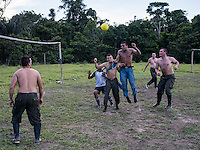 FARC rebels play soccer at a camp in the remote Putumayo region of Colombia, on December 10, 2016. (Photo/Scott Dalton)