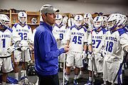 SHOT 2/18/17 12:45:51 PM - Air Force head lacrosse coach Eric Seremet addresses his team in the locker room before playing against Marist College at Falcon Stadium at the Air Force Academy in Colorado Springs, Co. Marist won the game 10-4. Seremet is in his ninth season as the head coach for the Air Force lacrosse program.<br /> (Photo by Marc Piscotty / © 2017)