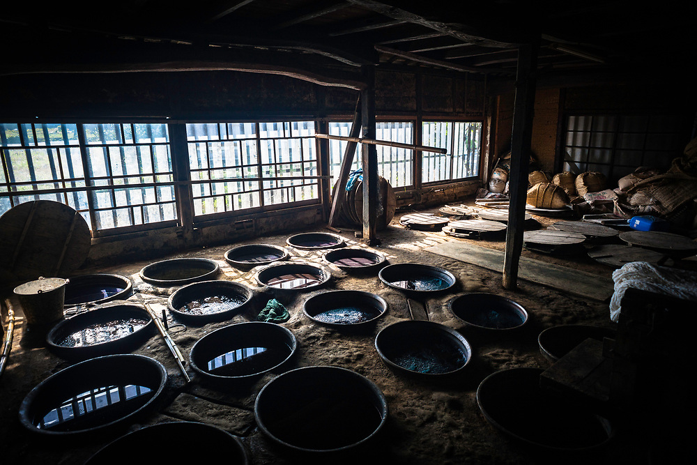 Traditional indigo dye production in Kurume, Fukuoka Prefecture.