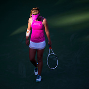 August 30, 2017 - New York, NY : Allie Kiick, in pink, pauses as she competes against Daria Gavrilova, not visible,  in the Grandstand on the third day of the U.S. Open, at the USTA Billie Jean King National Tennis Center in Queens, New York, on Wednesday. <br /> CREDIT : Karsten Moran for The New York Times