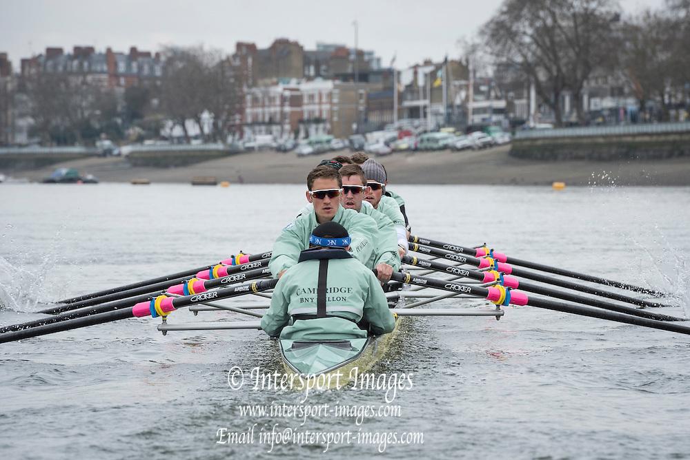 London. UNITED KINGDOM.   Tideway Week. 162nd BNY Mellon Boat Race  and The 71st Newton Women's Boat Race on the Championship Course, River Thames, Putney/Mortlake.  Thursday  24/03/2016    [Mandatory Credit. Intersport Images]<br /> <br /> Cambridge University Boat Club {CUBC}<br /> <br /> Cambridge, Bow: Felix Newman &ndash; 83.2kg, 2: Ali Abbasi &ndash; 88.4kg, 3: Charles Fisher &ndash; 91.8kg, 4: Clemens Auersperg &ndash; 90.4kg, 5: Luke Juckett &ndash; 82.0kg, 6: Henry Hoffstot &ndash;  92.6kg, 7: Ben Ruble &ndash; 83.4kg, Stroke: Lance Tredell &ndash; 94.2kg, Cox: Ian Middleton &ndash; 54.0kg