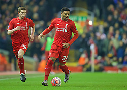 LIVERPOOL, ENGLAND - Wednesday, January 20, 2016: Liverpool's Jordon Ibe in action against Exeter City during the FA Cup 3rd Round Replay match at Anfield. (Pic by David Rawcliffe/Propaganda)