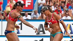 04.08.2011, Klagenfurt, Strandbad, AUT, Beachvolleyball World Tour Grand Slam 2011, im Bild Barbara Hansel, Sara Montagnolli AUT, EXPA Pictures © 2011, PhotoCredit EXPA Gert Steinthaler