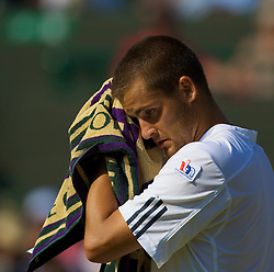 LONDON, ENGLAND - Monday, June 30, 2008: Mikhail Youzhny (RUS) during his men's singles fourth round defeat on day seven of the Wimbledon Lawn Tennis Championships at the All England Lawn Tennis and Croquet Club. (Photo by David Rawcliffe/Propaganda)