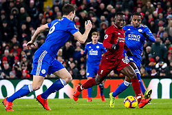 Naby Keita of Liverpool goes down under a challenge from Ricardo Pereira of Leicester City - Mandatory by-line: Robbie Stephenson/JMP - 30/01/2019 - FOOTBALL - Anfield - Liverpool, England - Liverpool v Leicester City - Premier League