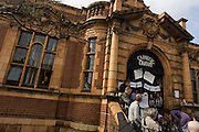 Campaigners protesting the closure by Lambeth council of Carnegie Library in Herne Hill, south London on day 3 of its occupation, 3rd April 2016. The angry local community in the south London borough have occupied their important resource for learning and social hub for the weekend. After a long campaign by locals, Lambeth have gone ahead and closed the library's doors for the last time because they say, cuts to their budget mean millions must be saved. A gym will replace the working library and while some of the 20,000 books on shelves will remain, no librarians will be present to administer it.