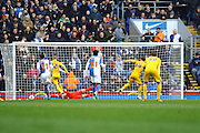 Preston North End Striker Joe Garner makes it 1-1  from the penalty spot during the Sky Bet Championship match between Blackburn Rovers and Preston North End at Ewood Park, Blackburn, England on 2 April 2016. Photo by Pete Burns.