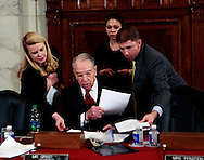 Chairman Charles Grassley  and his staff at the confirmation hearing for Senator Jeff Sessions  to become Attorney General.  The hearing was held in the Caucus Room of the Russell Senate Office Building on January 10, 2017.<br /> <br /> Photo by Dennis Brack