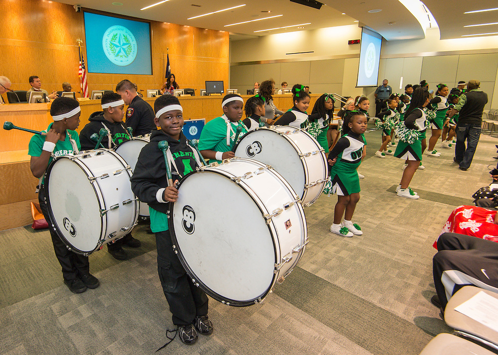 Members of the Atherton Elementary School during a meeting of the Houston ISD Board of Trustees, April 14, 2016.