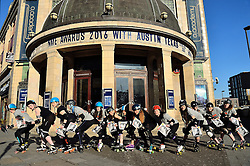 © Licensed to London News Pictures. 16/02/2016. Roller Derby teams celebrate the partnership between the NME Awards and Live Music Capital of the World® Austin, Texas. In anticipation of the ceremony this Wednesday -  Roller Derby, a hugely popular sport in Austin, Texas, came to the Brixton O2 Academy this morning. Roller Derby, which has strong roots with Austin, Texas, is a ls a growing in popularity here in the UK.  . London, UK. Photo credit: Ray Tang/LNP