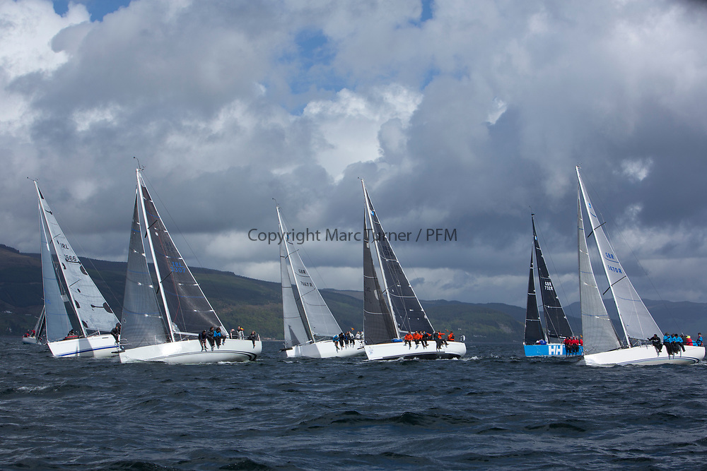 Pelle P Kip Regatta 2017 run by Royal Western Yacht Club at Kip Marina on the Clyde. <br /> <br /> RC35 Fleet upwind with Carmen, Jacob, Now or Never, Animal, Wildebeest and Banshee<br /> <br /> Image Credit Marc Turner
