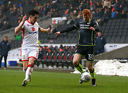 Rory Gaffney of Bristol Rovers takes on George Williams of Milton Keynes Dons - Mandatory by-line: Robbie Stephenson/JMP - 03/03/2018 - FOOTBALL - Stadium MK - Milton Keynes, England - Milton Keynes Dons v Bristol Rovers - Sky Bet League One