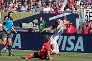 Korea Republic defender Lee Youngju (7) tackles USA midfielder Rose Lavelle (16) during an international friendly soccer game in Chicago, Sunday, Oct. 6, 2019, in Chicago. The team splayed to a 1-1 tie. (Max Siker/Image of Sport)