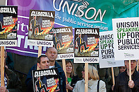 Unison members Cleggzilla protest outside Sheffield Town Hall as spending cuts are announced..© Martin Jenkinson, tel 0114 258 6808 mobile 07831 189363 email martin@pressphotos.co.uk. Copyright Designs & Patents Act 1988, moral rights asserted credit required. No part of this photo to be stored, reproduced, manipulated or transmitted to third parties by any means without prior written permission