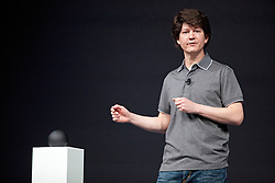 "Joe Britt, engineering director at Google, introduces the ""Nexus Q "", a small Android computer, which ""connects to all the media you have stored in the cloud"", during the Google I/O Developer Conference in San Francisco, California."