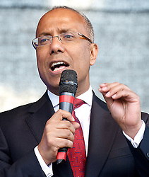 Mayor of Tower Hamlets Lutfur Rahman speaks at Stand up to Racism and Fascism Rally  from Westminster to Trafalgar Square. Rally and speeches in Trafalgar Square including speeches by  Diane Abbott, MP.London, United Kingdom. Saturday, 22nd March 2014. Picture by Elliott Franks / i-Images