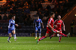 Scott Tanser of Rochdale scores the opening goal   - Mandatory byline: Matt McNulty/JMP - 07966 386802 - 06/10/2015 - FOOTBALL - Spotland Stadium - Rochdale, England - Rochdale v Chesterfield - Johnstones Paint Trophy